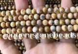 CAA3602 15.5 inches 6mm round yellow crazy lace agate beads