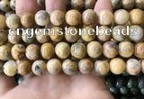 CAA3605 15.5 inches 12mm round yellow crazy lace agate beads