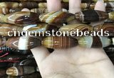 CAA4168 15.5 inches 12*40mm rice line agate beads wholesale