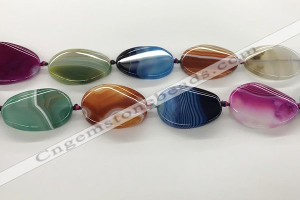CAA4308 15.5 inches 30*40mm twisted oval line agate beads