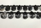 CAA4369 Top drilled 20*30mm freeform black banded agate beads
