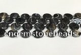 CAA4396 15.5 inches 20mm flat round black banded agate beads