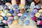 CAA4407 15.5 inches 15mm flat round agate druzy geode beads