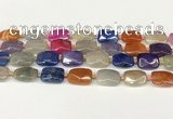CAA4524 15.5 inches 13*18mm faceted rectangle dragon veins agate beads