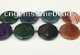 CAA4530 15.5 inches 35mm flat round dragon veins agate beads