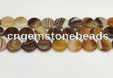 CAA4612 15.5 inches 18mm flat round banded agate beads wholesale