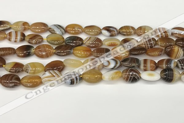 CAA4645 15.5 inches 10*14mm oval banded agate beads wholesale
