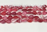 CAA4689 15.5 inches 10*14mm flat teardrop banded agate beads wholesale
