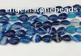 CAA4691 15.5 inches 10*14mm flat teardrop banded agate beads wholesale