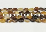 CAA4694 15.5 inches 12*16mm flat teardrop banded agate beads wholesale