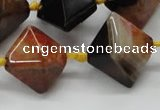 CAA494 15.5 inches 20*20mm pyramid agate druzy geode beads