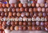 CAA5072 15.5 inches 8mm round red dragon veins agate beads