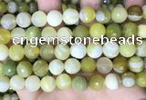 CAA5160 15.5 inches 12mm faceted round banded agate beads