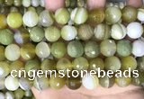 CAA5161 15.5 inches 14mm faceted round banded agate beads