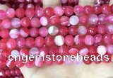 CAA5193 15.5 inches 8mm faceted round banded agate beads