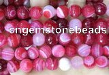 CAA5197 15.5 inches 16mm faceted round banded agate beads