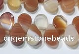 CAA5300 Top drilled 6*8mm flat teardrop line agate beads
