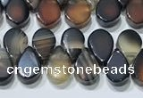CAA5321 Top drilled 6*8mm flat teardrop line agate beads
