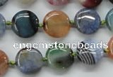 CAA542 15.5 inches 14mm flat round dyed madagascar agate beads