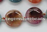 CAA543 15.5 inches 20mm flat round dyed madagascar agate beads