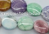 CAA68 15.5 inches 18mm flat round dyed white agate gemstone beads