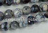 CAA716 15.5 inches 10mm faceted round fire crackle agate beads
