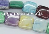 CAA81 15.5 inches 16*16mm square dyed white agate gemstone beads