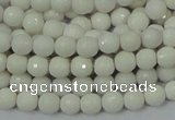 CAA92 15.5 inches 4mm faceted round white agate gemstone beads