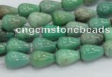 CAB03 15.5 inches 8*12mm teardrop green grass agate gemstone beads