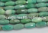 CAB18 15.5 inches 6*12mm faceted rice green grass agate beads