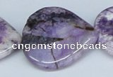 CAB189 15.5 inches 35*35mm heart purple crazy lace agate beads