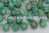 CAB23 15.5 inches 7*10mm faceted teardrop green grass agate beads