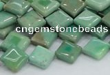 CAB27 15.5 inches 10*10mm diamond green grass agate gemstone beads