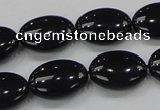 CAB319 15.5 inches 13*18mm oval black agate gemstone beads wholesale