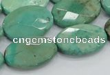CAB41 15.5 inches 18*25mm faceted oval green grass agate beads