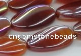 CAB532 15.5 inches 15*30mm twisted oval AB-color red agate beads