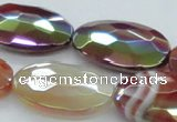 CAB542 15.5 inches 20*30mm faceted oval AB-color red agate beads