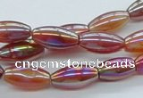 CAB546 15.5 inches 8*16mm rice AB-color red agate beads wholesale