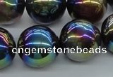 CAB555 15.5 inches 18mm round AB-color black agate beads wholesale