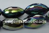 CAB556 15.5 inches 15*25mm faceted rice AB-color black agate beads