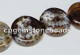 CAB628 15.5 inches 20mm flat round leopard skin agate beads wholesale