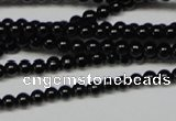 CAB720 15.5 inches 3mm round black agate gemstone beads wholesale
