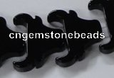 CAB869 15.5 inches 23*25mm ox-head black agate gemstone beads wholesale