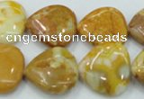 CAB942 15.5 inches 20*20mm heart yellow crazy lace agate beads