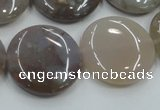 CAB956 15.5 inches 25mm flat round ocean agate gemstone beads