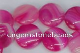 CAG1170 15.5 inches 18mm flat round line agate gemstone beads