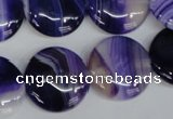 CAG1220 15.5 inches 20mm flat round line agate gemstone beads