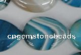 CAG1296 15.5 inches 22*30mm flat teardrop line agate gemstone beads