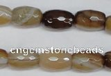 CAG1340 15.5 inches 10*15mm faceted rice line agate gemstone beads