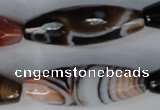 CAG1362 15.5 inches 13*38mm faceted rice line agate gemstone beads